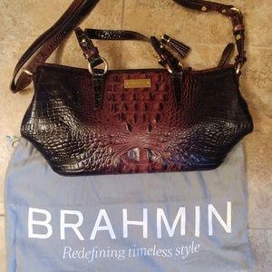 Brahmin Crocodile Leather Tote Brown